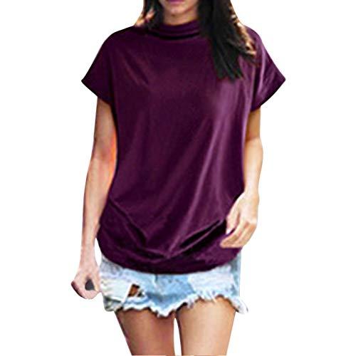 Damen Rollkragen-Bluse, kurzärmlig, Bovake, einfarbig, Baumwolle, lässig, Übergröße, für den Sommer, Frühling, Strand, Arbeit, Alltag, Violett - violett - Größe: 5X-Large -