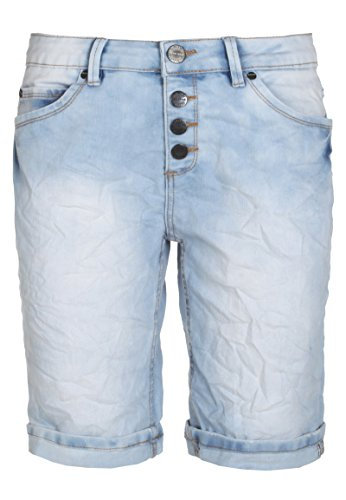 Sublevel used Jeans Bermuda-Shorts für Damen | kurze Hose für den Sommer aus stretch-Jeans middle-blue S (Print-stretch-shorts)