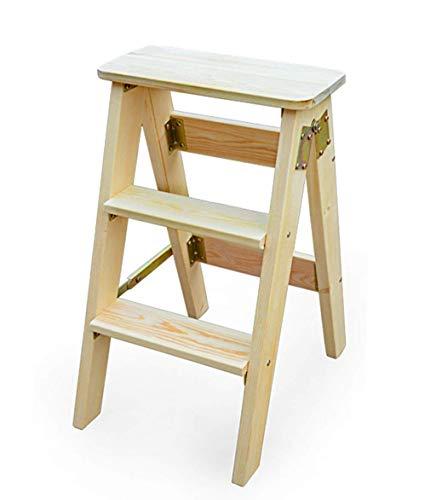 Step STOOLS Home Mehrzweck-Klappleiter-Hocker Massivholz Eiche Tritthocker Dreistufige Leiter-Tragbare Climb High Fishing Hocker, 3 Farben, Hohe 60 cm-Stepladern (Color : C)