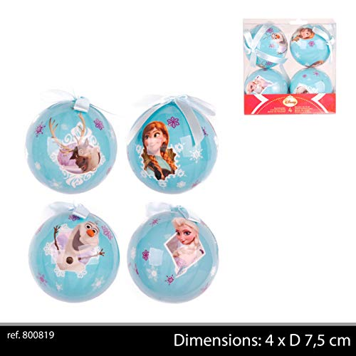 Urban Déco Lot de 4 Boules de Noël La Reine des neiges, 800819, Multicolore