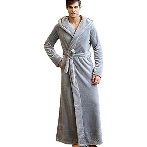 DMMSS Parejas del traje de invierno gruesa pijama franela albornoz gran tamaño camisón , l , light gray