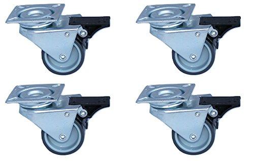 4 Stück Strandkorbrollen mit Bremse, Möbelrollen Transportrollen mit Doppelrollen, Tragkraft 300 Kg