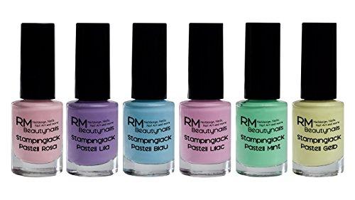 Stampinglack Pastell Set 6x4ml Rosa Lila Blau Lilac Mint Gelb Stamping Lack Nagellack Nail Polish RM Beautynails