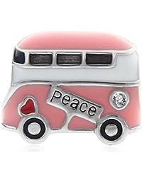 Paz autobús colgantes plata de ley 925amor rosa esmalte autobús Bead Charm