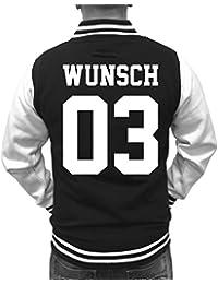 Partnerlook College Jacke mit WUNSCHNAME & WUNSCHNUMMER INDIVIDUALISIERBAR – Jacke für Pärchen, Familie & Freunde zum Bedrucken – Schwarz/Weiß, XS-3XL & 98-158