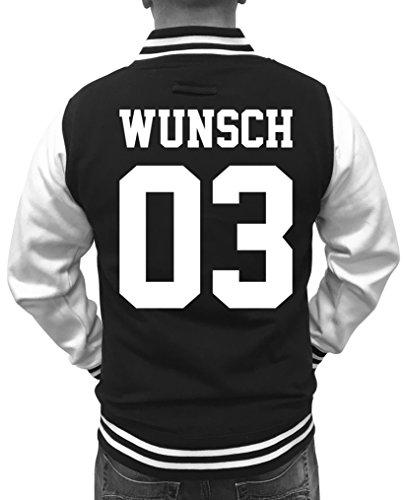 Shirt-jacke (WUNSCH - Herren College Jacke - Schwarz / Weiss Gr. L)
