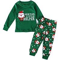 Inlefen Jungs Mädchen Pyjama Baby Kinder Nachtwäsche Weihnachten Drucksatz Schlafanzug mit Langen Ärmeln Freizeitkleidung