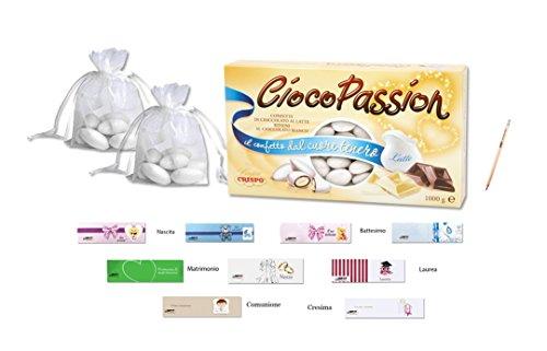 Ciocopassion latte bianchi 1 kg confetti + 50 sacchetti organza + 50 bigliettini