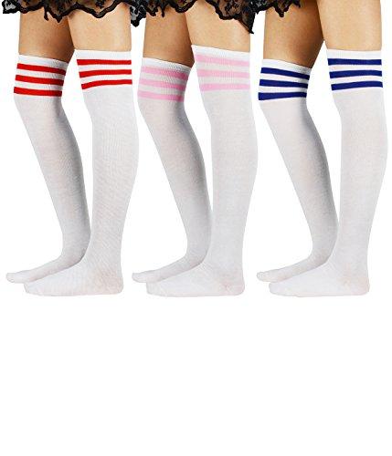Azue Damen Baumwolle Dünn Über Knie-Lange Overknee Socken Sportsocken Kniestrümpfe Strümpf mit 3 Streifen 3 Paare One Size (Lange Damen-socken)