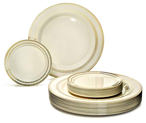 26,7cm + 15,2cm Lace Ivory/Gold Teller Gold Trim