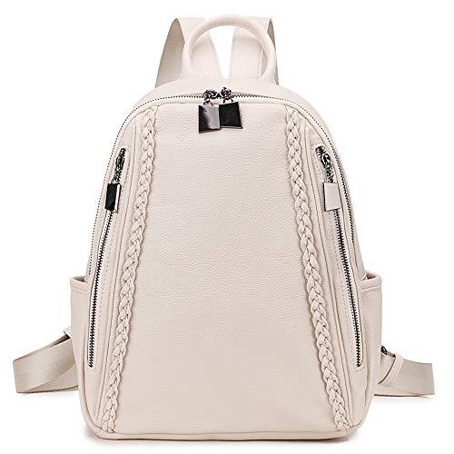 Zaino Borsa Donna,Piccolo Zaino in Pelle PU per le Signore Leggere Zainetto di Moda Casual da Viaggio Daypack Bianco