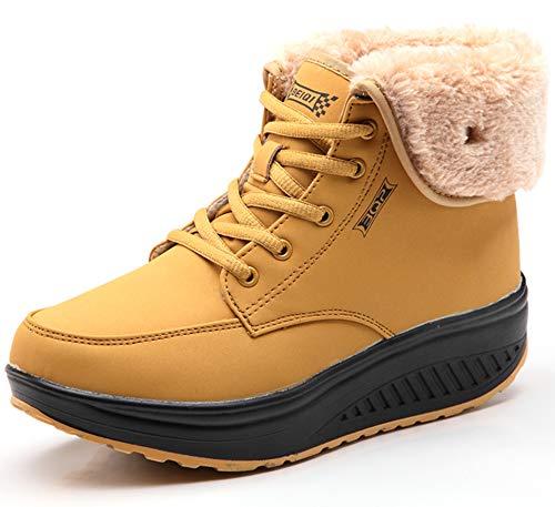 CAGAYA Damen Winterschuhe Warm Gefüttert Schneestiefel Fitness Keile Plattform Schuhe Outdoor Sneaker Stiefel (39, Gelb) -