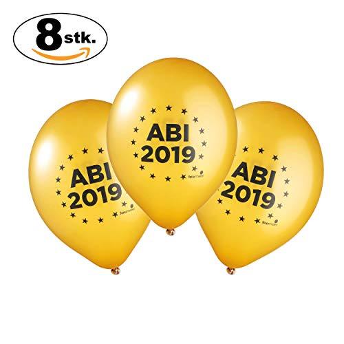 feiermeier® Latexballons Abi 2019 mit einem Durchmesser von ca.33cmØ in Gold 8 Stück Helium/Ballongas geeignet