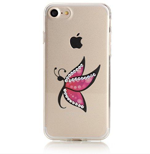 Arktis iPhone 8 / 7 Luxus Soft Tpu Silikon Case Schutzhülle Hülle Strass Strassteine Unicorn Dream Einhorn Einhörner Mrs. Butterfly