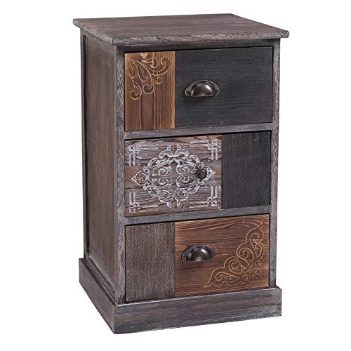 CARO-Möbel Schubladenregal MARA Standregal Aufbewahrungsregal, Shabby Chic Vintage Look mit 3 Schubladen