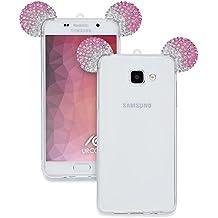 Samsung Galaxy A5 2016 Funda Urcover [Orejas de Ratón] Silicona TPU Rosa + Plata Funda Carcasa Samsung Galaxy A5 2016 [Brillante] Transparente Cristal Móvil Smartphone