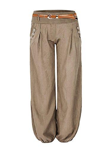 Bleistift-baumwolle Damen Hose (Damen Haremshose Elegant Winter Pumphose Lange Leinen Hose mit Gürtel Aladin Pants,1 Hosen+1 Gürtel (M, Khaki))