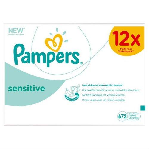 Pampers - Sensitive - Lingettes Bébé - Lot de 12 Paquets de 56 (x672 lingettes)