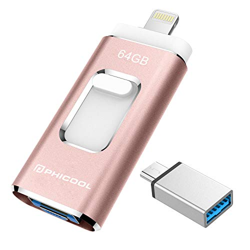 USB Stick 64GB Flash Speichererweiterung USB 3.0 Externer Speicherstick Flash Laufwerk Drive für Apple iOS iPhone iPod iPad Handy OTG Type C Android Computer Mac Laptop PC - Rosa