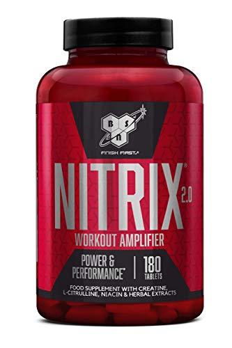 BSN NITRIX 2.0 Kombinations-Supplement (enthält Aminosäuren (mit Kreatin und Citrullin), Vitamin B und Pflanzenextrakt von BSN) Unflavoured, 60 Portionen, 180 Kapseln
