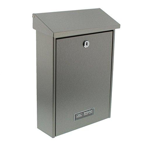 Preisvergleich Produktbild Burg Wächter Briefkasten mit Kippdach, B5 Einwurf-Format, Rostfreier Edelstahl, Hannover 3861 NI, Silber