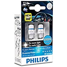 Philips 127998000KX2 X-treme Vision LED T10 8000K CeraLight, Diffusione Uniforme