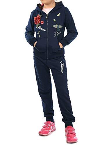 Kinder Mädchen Sport-Anzug Sweat-Jacke Pullover Langarm-Shirt Freizeit-Hose (3 TLG. Set) 30017 Navy 152 (Boys Navy Anzüge)