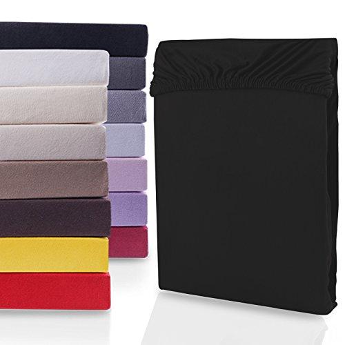 DecoKing 18385 80x200-90x200 cm Spannbettlaken schwarz 100% Baumwolle Jersey Boxspringbett Spannbetttuch Bettlaken Betttuch Black Nephrite Collection