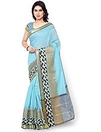 Varkala Silk Sarees Women's Chanderi Silk Saree With Blouse Piece(TD1034AD_Turquoise Blue_Free Size)