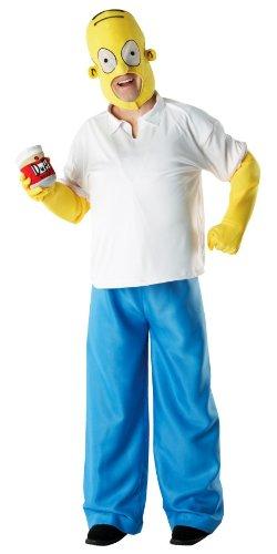 Homer Kostüm Die Simpsons Herrenkostüm blau-weiß-gelb Comic Kostüm Homer Simpson Männerkostüm (Die Kostüme Simpsons)