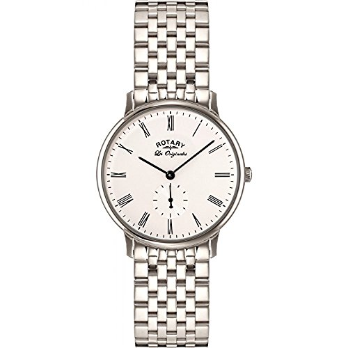 Rotary Men's Quartz Watch with White Dial Analogue Display and Silver Stainless Steel Bracelet GB90050/01