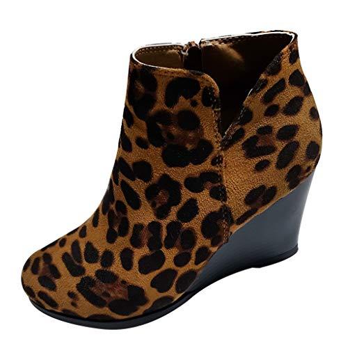 DOLDOA Damen Winterstiefel Mädchen Leopard Wedges Knöchel Reißverschluss Kurze Stiefel Bootie Schuhe Braun