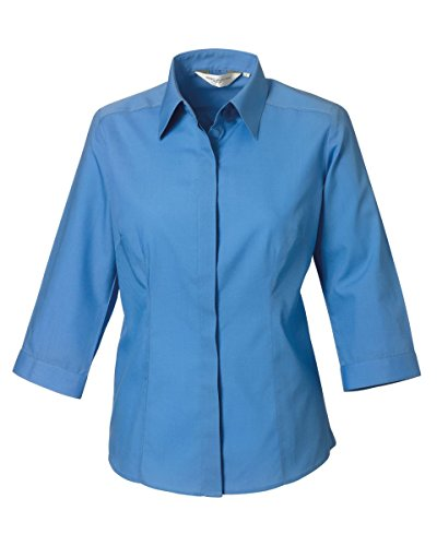 russell-collection-ladies-3-4-sleeve-poly-cotton-easy-care-fitted-polin-shirt926f