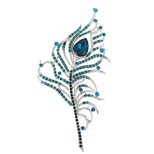 Ever Faith Austriaco di cristallo elegante del pavone Plume lacrima spilla in argento-Tone A13194-8