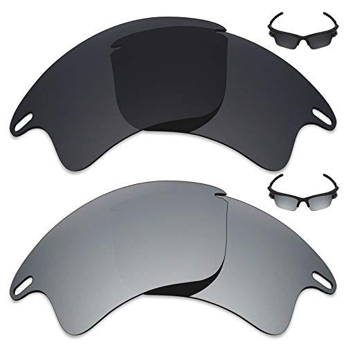 MRY 2Paar Polarisierte Ersatz Gläser für Oakley Fast Jacket XL Sonnenbrille-Reiche Option Farben, Stealth Black & Silver Titanium