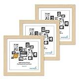 Lot de 3 Cadres 15x15 cm Moderne Naturel en MDF avec vitre en Acrylique Comprenant Accessoires/Collage de Photos/galerie d'images/Multi Cadre Photo Mural