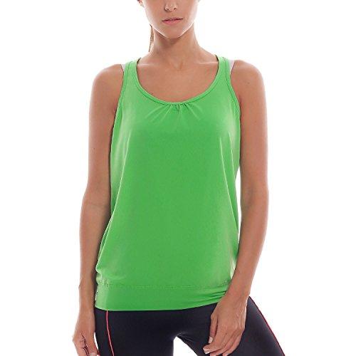SYROKAN Damen Sport T-shirt Tank Top - Ringerrücken Gym Elastische Fitness Grün 42