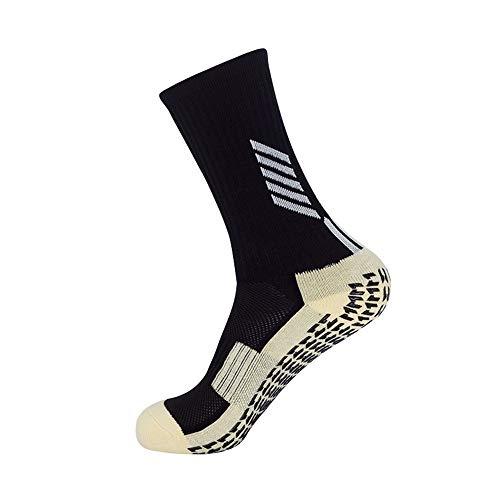 Anti-Rutsch-Handtuch Herren-Socken in der Röhre Erwachsene Wettbewerb Training Socken Basketball Fußball Dual-Use-Sport-Socken 3PCS, schwarz N02, Erwachsene