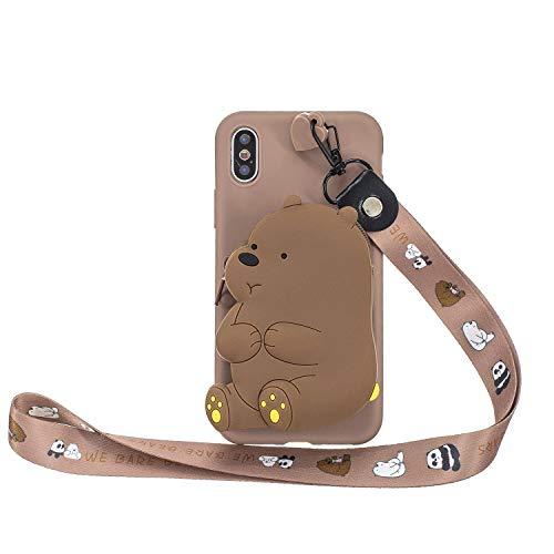 Miagon Silikon Hülle für iPhone XR,3D Süß Brieftasche Lager Tasche Design mit Halskette Kordel Schnur Handykette Necklace Band,Braun Bär