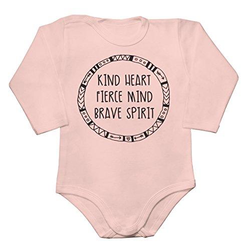 Kind Heart Fierce Mind Brave Spirit Round Design Baby Long Sleeve Romper Bodysuit