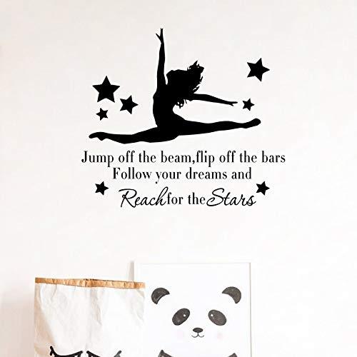 yiyiyaya Gymnast Gymnastic Silhouette Vinyl Aufkleber Decals Gymnastic Inspirational Quote Decals Mädchen Schlafzimmer Wandkunst Dekoration 48X44 cm -