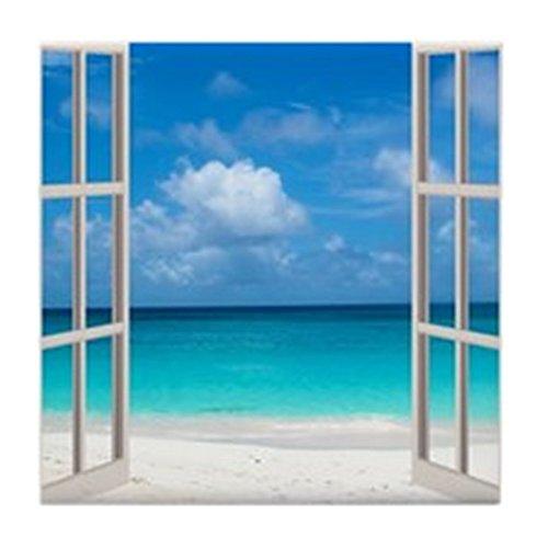 Cafe Duschvorhänge, Press (CafePress–Tropischer Strand Blick durch Fenster–Tile Untersetzer, Drink Untersetzer, Untersetzer, Klein)