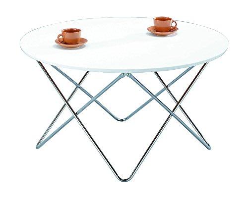ASPECT Amelia Table Basse Ronde avec Dessus en Bois/Pieds chromés, Bois, Blanc, 90 x 90 x 50 cm