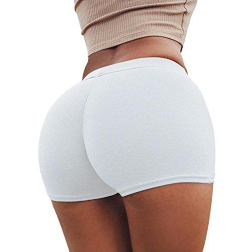 ZARLLE Pantalones De Seguridad Cortos De Yoga para Mujer, Pantalones De Deporte De Verano De Las Mujeres Shorts Gym Workout Yoga Pantalones Cortos De Cintura Delgada (L, Blanco)