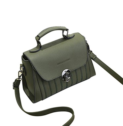 Baymate Damen Mode Druckschulterbeutel-PU-Leder Handtasche Schulranzen UmhäNgetasche Grün