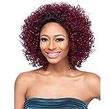 CXQ Damen Kurzes Haar Rot Afrikanische Kleine Roll Kurze Lockige Schwarze Perücke
