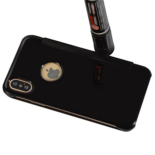 Vandot 2 en 1 Etui pour iPhone X Souple TPU Silicone Housse Clair Transparente Coque pour iPhone X / iPhone 10 Ultra Mince Ultra Léger Cover Absorption de Choc Antidérapant Anti-rayures Case pour iPho Flip- Noir
