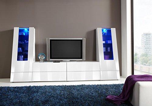 Wohnzimmerschrank, Wohnwand, Schrankwand, Anbauwand, Fernsehwand, Wohnzimmerschrankwand, Wohnschrank, weiß, Hochglanz
