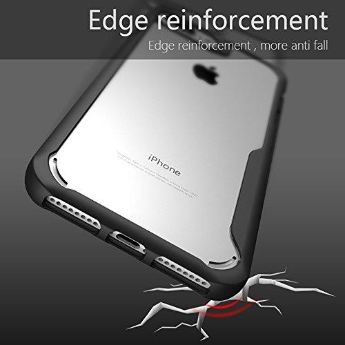 iPhone 7 Plus/iPhone 8 Plus Coque , SHANGRUN Doux TPU Silicone Bumper Transparent Dur PC Couvercle housse Etui Protection Case pour iPhone 7 Plus/iPhone 8 Plus Gris Noir