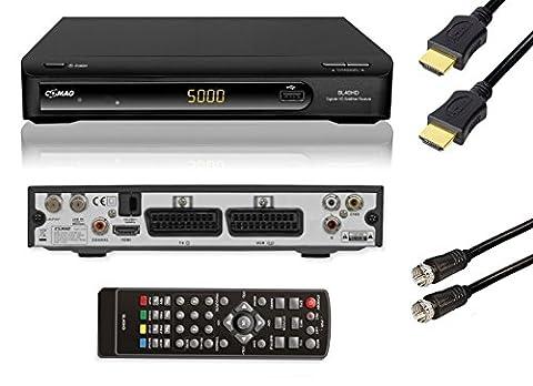 COMAG SL40HD HDTV Satelliten Receiver (PVR Ready, USB 2.0 für externe Festplatte oder USB-Stick, Scart, HDMI) schwarz, inkl. HIGHSPEED Qualitäts-HDMI-Kabel + SAT Antennenkabel